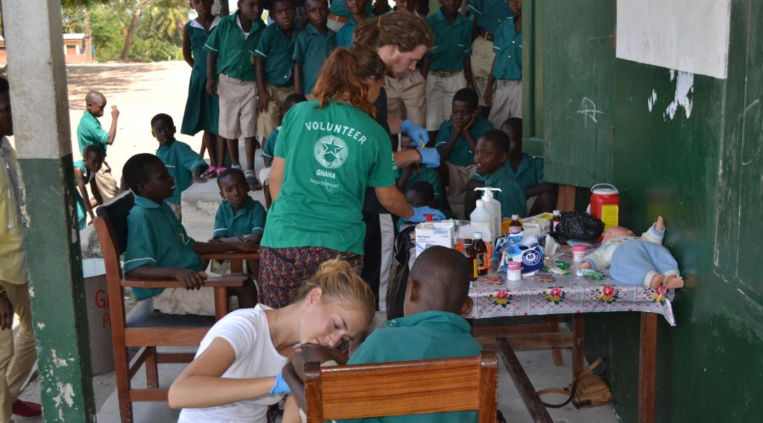 A group of nursing and medical volunteers run a medical outreach in Ghana during their internship with Projects Abroad.